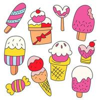 Bundle set of variety ice cream collection Hand drawn vector