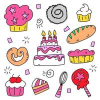 Baking collection of Hand drawn cartoon style flat vector