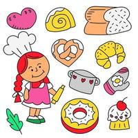 Dessert collection of Hand drawn cartoon style flat vector