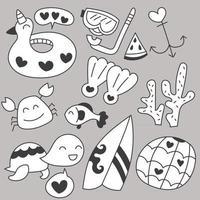 Set of summer holiday hand drawing sketch vector