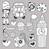 Set of travel on holidays cartoon vector