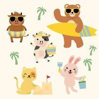 Bundle set of cartoon animal activity on beach vector