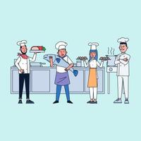 The kitchen has a large restaurant team with many departments. vector