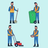 Park attendant takes care of cleaning, cleaning, cleaning, mowing, gardening. vector