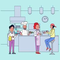 The restaurant has skilled chefs and the business grows. vector
