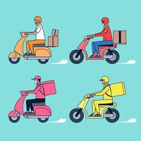Big isolated delivery vehicle vector icons, flat illustrations of motorcycle delivery, logistic commercial transport concept.
