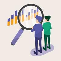 Business people looking graph with a magnifying glass vector