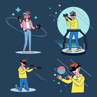 los bloggers juegan juegos en vivo en sus canales en una audiencia mundial. vector