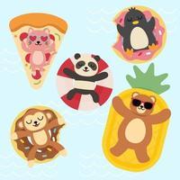 Bundle set of colorful cartoon animal vector