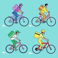 Big isolated delivery vehicle vector icons, flat illustrations of bicycle delivery, logistic commercial transport concept.
