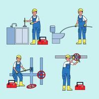técnicos profesionales para la reparación y solución de diversos problemas de equipos en el hogar. vector