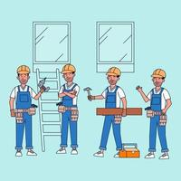 Bundle of vector characters People in carpenter occupations