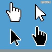 Pixel mouse hand cursor icon vector illustration