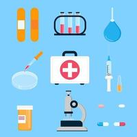 Hospital medicine first aid kit and laboratory equipment for analysis, vaccines and cure people science things  flat style design vector illustration isolated on background.