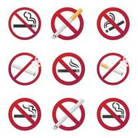 9 no smoking icon signs set. Flat style design and 3d realistics design of signs in the red gradient circles isolated on white background vector illustration.