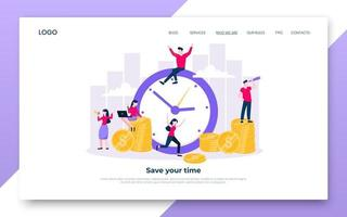 Time is money. Save time business concept flat style vector illustration.