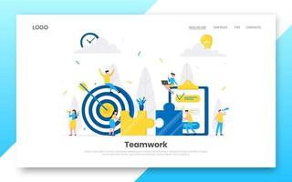 Teamwork concept with tiny people characters working together with big target vector