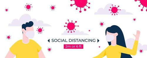 Healthcare social distancing concept flat style design vector illustration