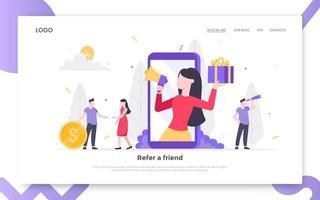Refer a friend flat style design vector illustration landing page concept.