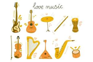 Set of hand drawn musical instrument for education, courses, festive, shop. Flat illustration. vector