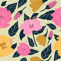 Seamless pattern of hand drawn Hibiscus flowers. vector