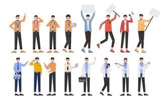 paquete de muchos conjuntos de personajes de carrera 4, 16 poses de diversas profesiones, estilos de vida, vector