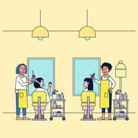 Cartoon style. Set of beauty salon, isolated barber is styling the customers' hair in the beauty salon. vector