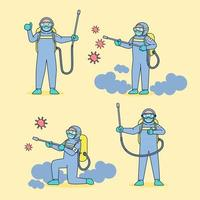 Public health workers wearing germ-resistant clothing and spraying disinfectant for the coronavirus in a large epidemic. vector