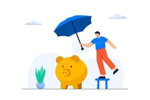 estilo de dibujos animados. El sistema de seguro de propiedad brinda tranquilidad a las aseguradoras. vector