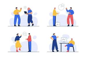 Cartoon style. Business Concept Bundle There are many employees in the company working together. Make up a company vector