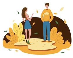 A young woman and a boyfriend go on a relaxing autumn trip. vector