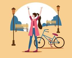 A woman riding a bicycle to exercise in the evening. vector
