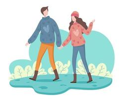 A young woman and a boyfriend go on a relaxing winter trip. vector