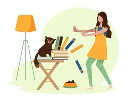 A young woman on vacation at home with her mischievous cat. vector