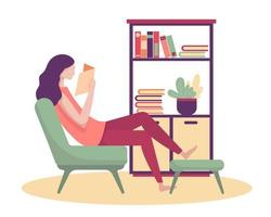 A young woman refreshed the morning with a new book in her lounge. vector