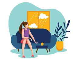 A girl sitting on the sofa on a boring day vector