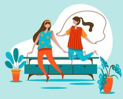 The young girl and her friend work out by jumping rope. vector