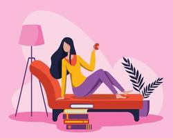A young woman refreshed the morning with her favorite coffee in her living room vector