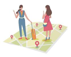 A young tourist asks about a city place from a young woman living in the city she visits. vector