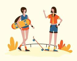 A young girl and her friends are enjoying skateboarding vector