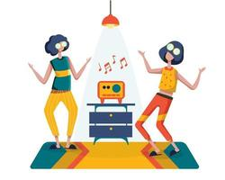 Two young girls practiced dancing by listening to music on the radio. vector