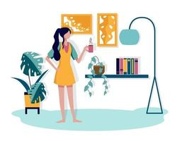 A young woman refreshed the morning with a favorite cup of coffee in her lounge. vector