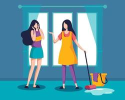 Two girls annual house big cleaning vector