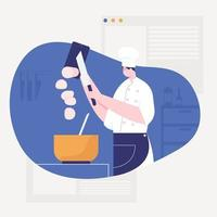 The chef prepares food for customers who come to service at the restaurant. vector