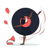 The girl danced to the music from the turntable. vector