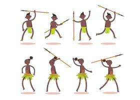 Bundle of African tribe character set with a spear 8 gestures vector