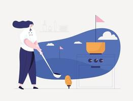 The chef concept compares cooking to a golf course. vector