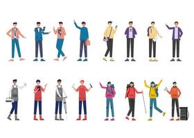 Bundle of 4 character sets, 16 poses of various professions, lifestyles vector