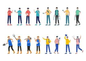 Bundle of 4 man character sets, 16 poses of various professions, lifestyles, career vector