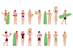 Bundle of character 4 sets, 16 poses of men and female in swimming suit with gear vector